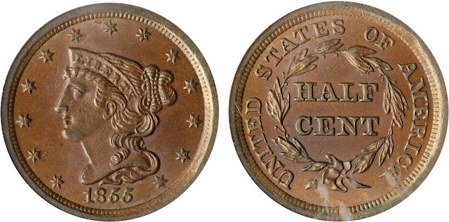 1855 1/2C MS64 Brown PCGS