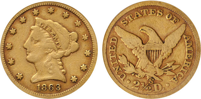 1863-S $2.5 VG10 PCGS