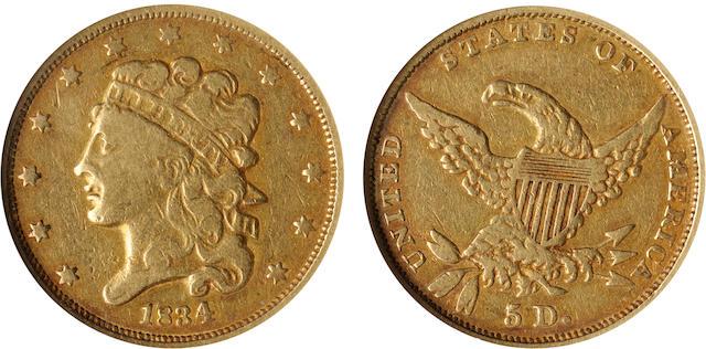 1834 $5. Plain 4 VF20 NGC