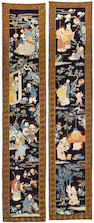Two embroidered pictorial silk hangings Late Qing/Republic period