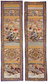 A group of eight kesi-woven silk panels with gilt-wrapped thread backgrounds