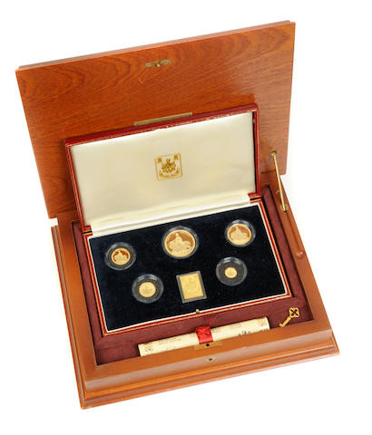 Gibraltar, Una and the Lion Commemorative 5 Piece Gold Proof Set, 1989