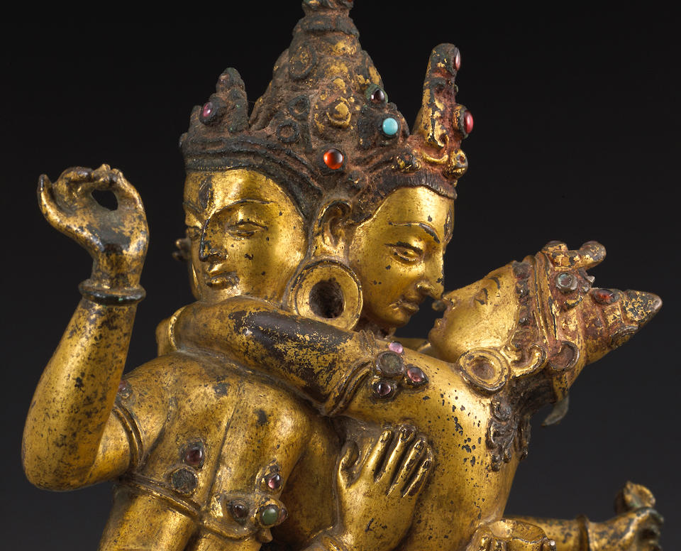 A gilt copper figure of Yogambara  Nepal, circa 13th century