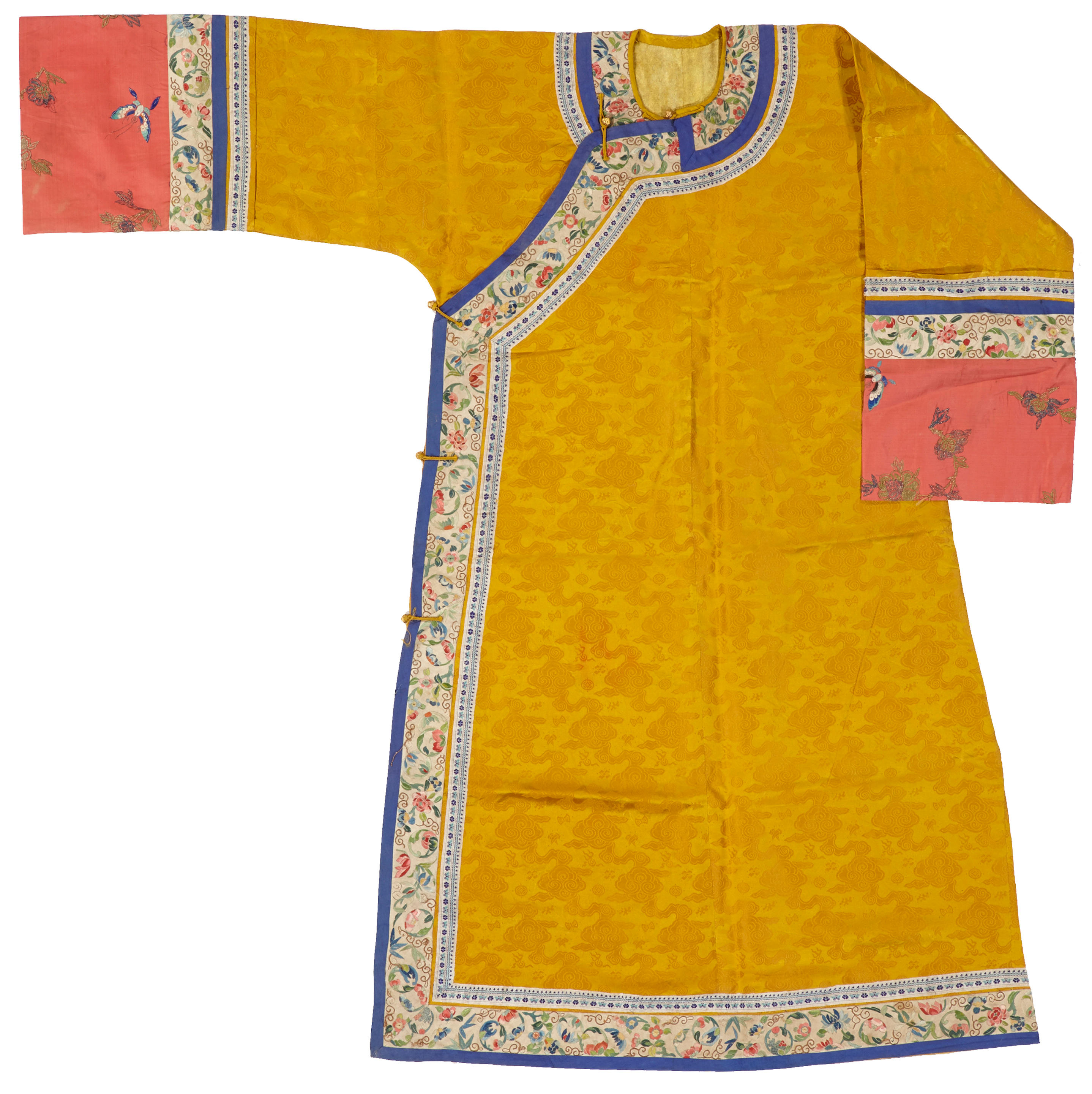 A yellow brocade woman's informal robe with embroidered bands