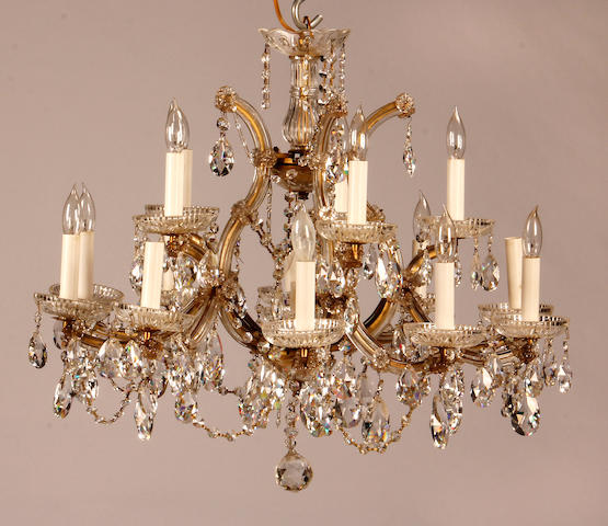 A Louis XV style gilt bronze and glass chandelier