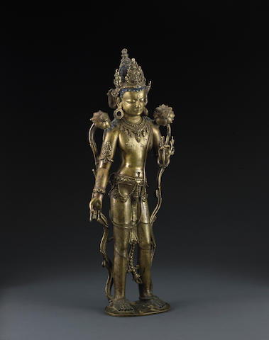 A copper alloy figure of Avalokiteshvara Central Tibet, circa 12th century