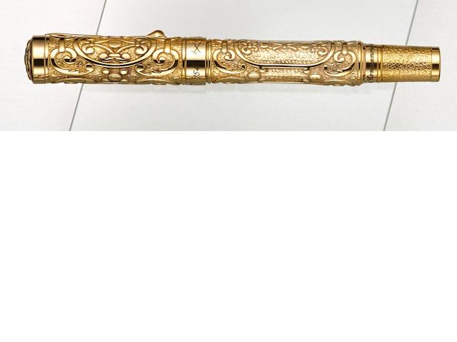 AURORA: Hong Kong Comemmoration [Benvenuto Cellini] Vermeil Limited Edition 199 Fountain Pen