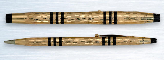CROSS: Art Deco Gold-Filled, Enamel-Banded Fountain Pen & Propelling Pencil Set, c.1938