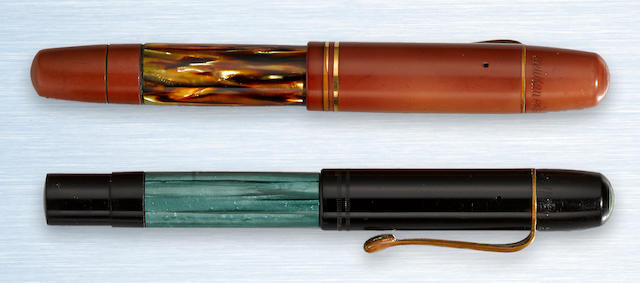 PELIKAN: No. 100 and No. 100 N Hard Rubber and Celluloid Pair of Fountain Pens, c.1937