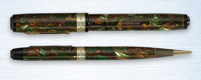 WATERMAN'S: Patrician Fountain Pen & Propelling Pencil Set, Moss Agate Marbled Celluloid, c.1930