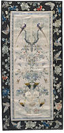 Six pairs of embroidered silk sleeve bands with plant and animal subjects Late Qing/Republic period