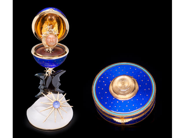 """The Moon and Stars Suite"":  including a Blue Enamel Egg Creation, an Enameled Box, a Pair of Moonstone Earclips, a Pendant and Two Diamond and Gemset Brooches"