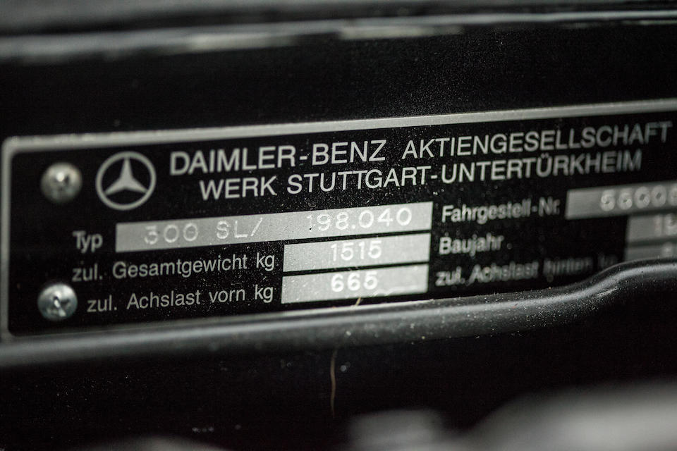 <b>1955 Mercedes-Benz 300SL Gullwing Coupe  </b><br />Chassis no. 198040.5500594 <br />Engine no. 198980.5500621