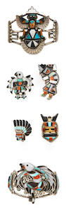 Six Zuni inlay adornments