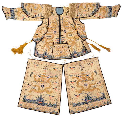 A rare partial suit of ceremonial armor with dragon decoration Late Qing dynasty
