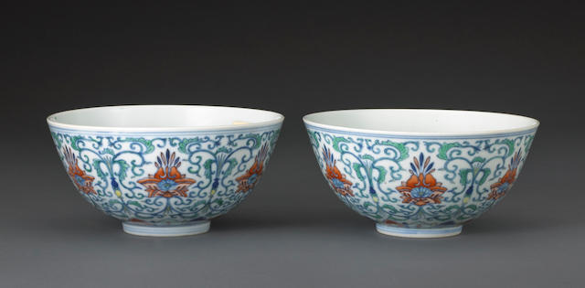 A pair of doucai decorated bowls Daoguang marks and of the period