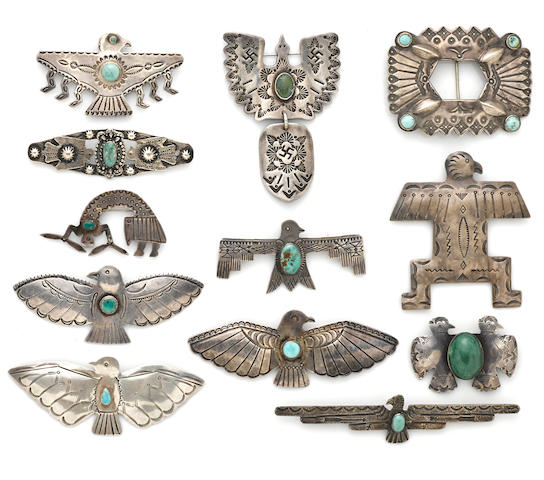 Twelve Navajo pins