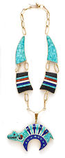 A Navajo reversible necklace and pendant