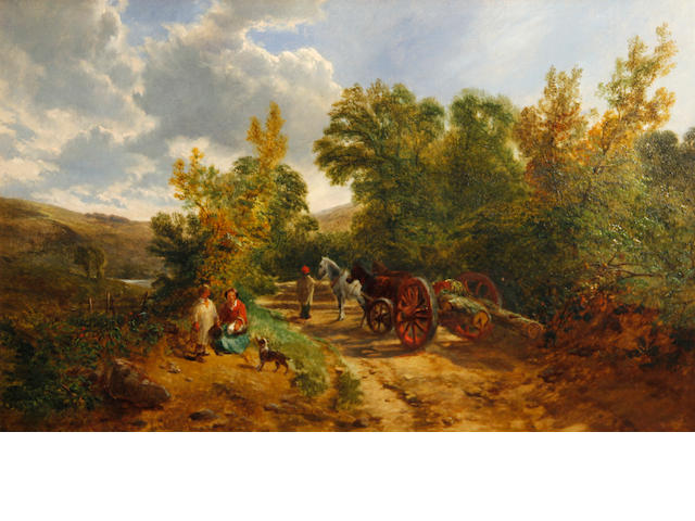 Attributed to George Vicat Cole, RA (British, 1833-1893) A landscape with figures on a track 12 x 18in