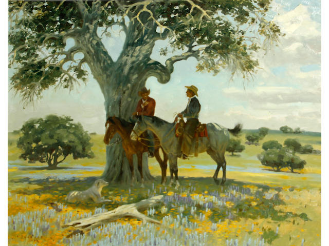 Jack N. Swanson (American, born 1927) Two cowboys under a tree, 1966 22 x 28in