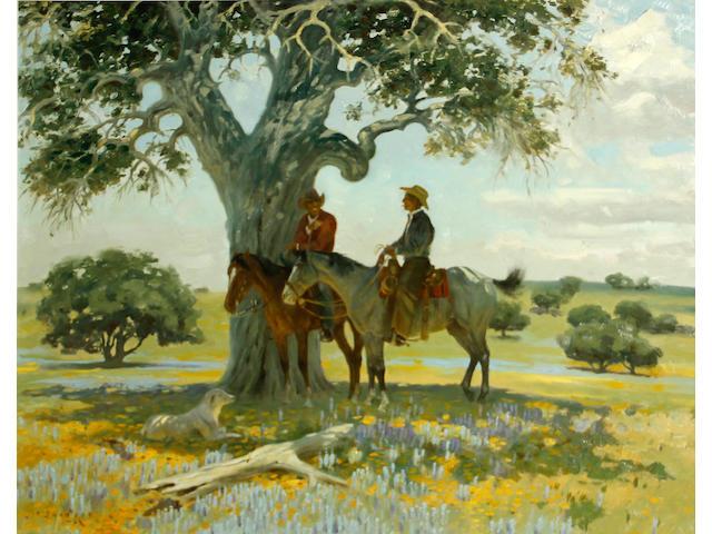 Jack N. Swanson (American, born 1927) Two cowboys under a tree, 1966 22 x 28in