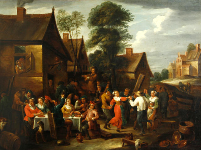 Manner of David Teniers II Village merry-making before an inn 21 1/4 x 28 3/4in