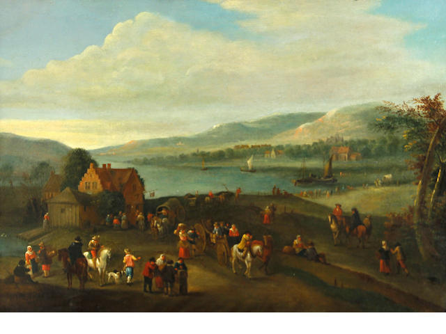Attributed to Karel Breydel, called le Cavalier d'Anvers (Antwerp 1678-1733) An extensive river landscape with numerous figures outside an inn 11 1/2 x 17 1/4in