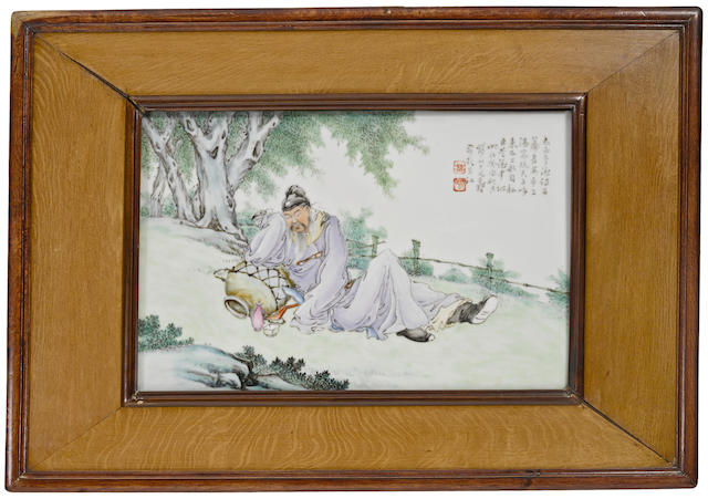 A porcelain plaque depicting Li Bo Wang Dafan, dated by inscription to 1933