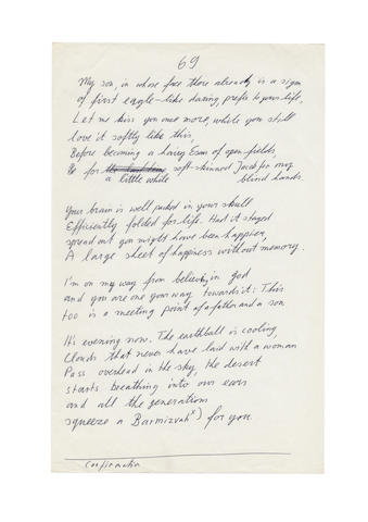 AMICHAI, YEHUDA. 1924-2000. Autograph and Typed Manuscripts, 18 pp including 6 pp of autograph manuscripts, 4to and folio, [1970s],