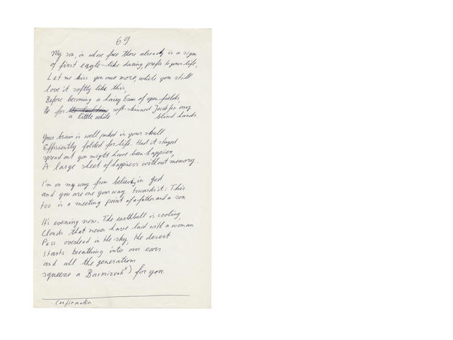 AMICHAI, YEHUDA. 1924-2000. 18 pages total, including 6 pages of autograph manuscripts, folio and quarto, [1970s], numbered here and in the printed version 65, 67, 68, 69,70 and 72,