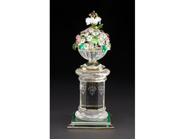 Bouquet of Flowers on Rock Crystal Pedestal