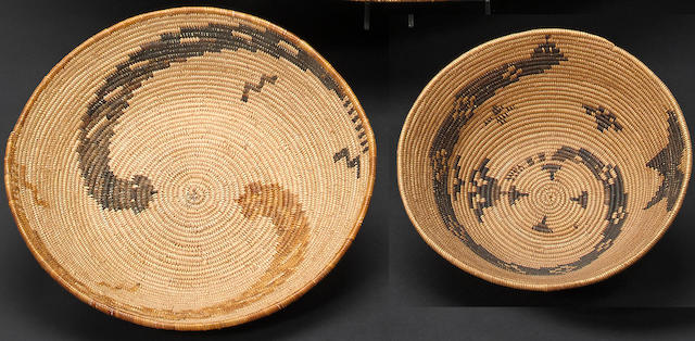 Two Mission rattlesnake baskets