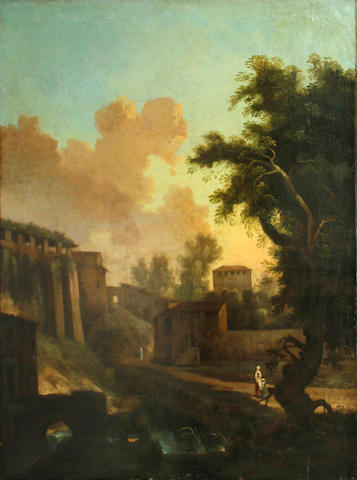 Dutch School, 18th Century A view of a town with figures on a path 38 1/2 x 34in