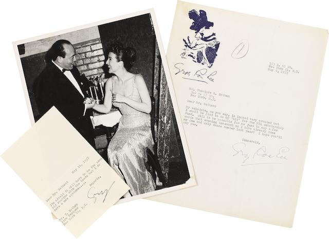 CELEBRITY CORRESPONDENCE TO THEODORE NATHAN. This lot features a selection of signed letters and inscribed photographs, all to Theodore Nathan, including: