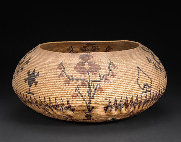 A monumental polychrome Washo basket