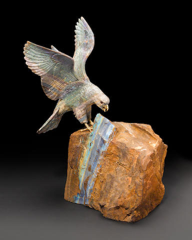 Matrix Opal Carving of an Eagle on a Boulder Opal Base