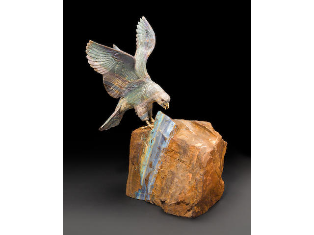 Matrix Opal Carving of an Eagle on a Boulder Opal Base