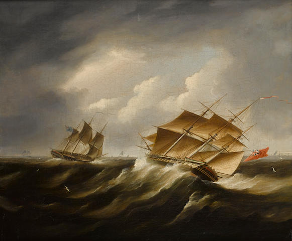 James Edward Buttersworth (British/American, 1817-1894) British frigates in a black squall20 x 24-1/4 in. (50.8 x 61.5 cm.)