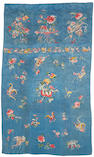 A pieced and embroidered blue silk brocade rectangular panel Late Qing/Republic period
