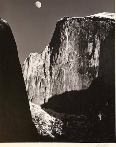Ansel Adams (American, 1902-1984); Moon and Half Dome, Yosemite National Park;
