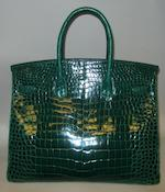 An Hermès green crocodile Birkin handbag