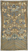 Two assembled kesi-woven silk panels Late Qing dynasty