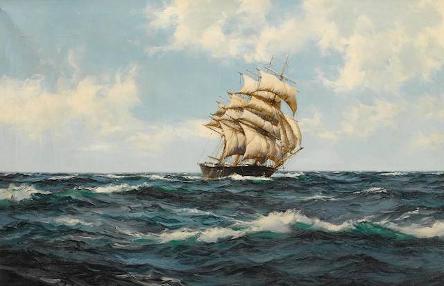 Montague Dawson (British, 1890-1973) The Bonnie Breeze in the West Solent 20 x 30 in. (50.8 x 76.2 cm.)