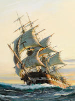 Montague Dawson (British, 1890-1973) Sunset Glow 24 x 36 in. (60.9 x 91.4 cm.)