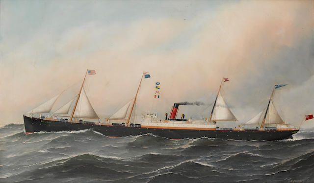 Antonio Nicolo Gasparo Jacobsen (American, 1850-1921) The S.S. Massachusettes at sea 22 x 35-1/2 in. (55.8 x 90.1 cm.)