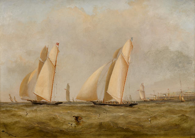 Henry Sargeant (British, 1798-1868) The First Race for the America's Cup, a pair11 x 15 in. (28 x 38 cm.) each.