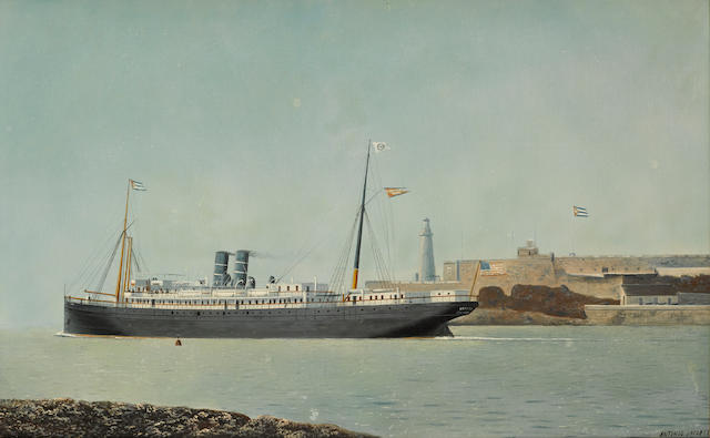Antonio Nicolo Gasparo Jacobsen (American, 1850-1921) The S.S. Mexico departing Havana harbor 21-3/4 x 36 in. (55.2 x 91.4 cm.)