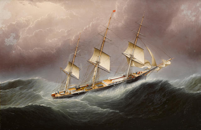 James Edward Buttersworth (British/American, 1817-1894) The American clipper ship Flying Cloud, Scudding in a Gale of Wind off Cape Horn 20 x 30 in.