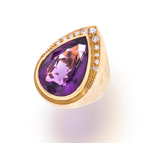 An amethyst, diamond and eighteen karat gold ring, Haroldo Burle-Marx