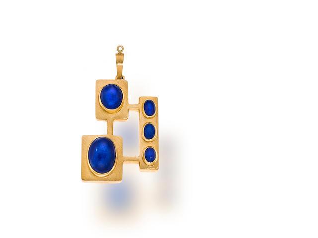A lapis lazuli and eighteen karat gold pendant, Haroldo Burle-Marx